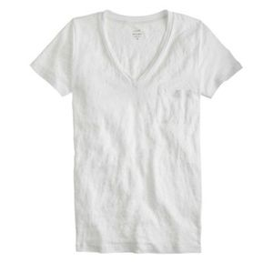 J Crew XXS White Linen V-Neck Pocket T-shirt